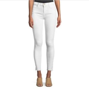 Current/Elliott White Stiletto Hem Skinny Jeans